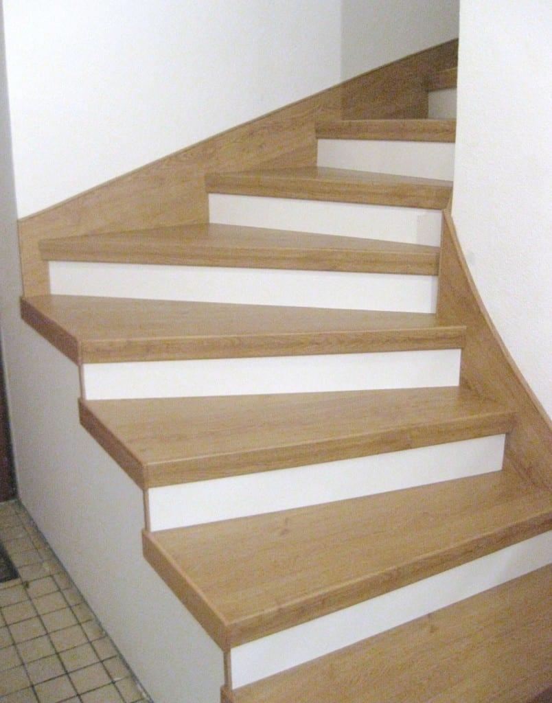 Multi stair traprenovatie floortec for Trap hout wit