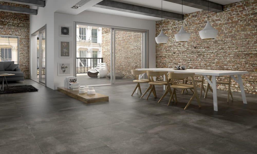 keramische vloertegels in een industriële woonstijl